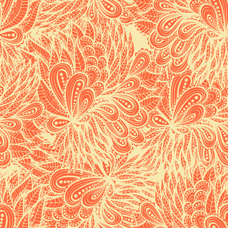Seamless floral vintage  orange doodle pattern Vector
