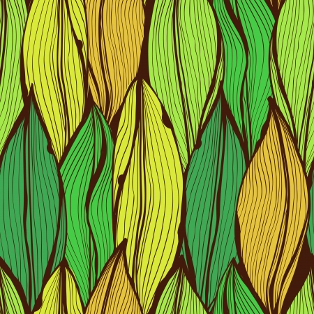 Seamless green hand drawn floral pattern with autumnt leaves Vector