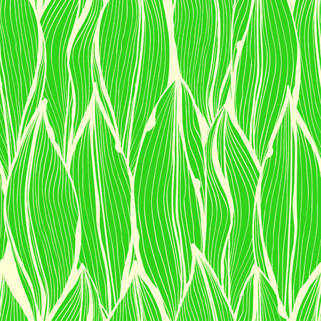 Seamless green monochrome hand drawn floral pattern with vertical leaves Vector