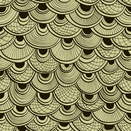 Abstract monochrome seamless hand drawn background with ornate fish scales