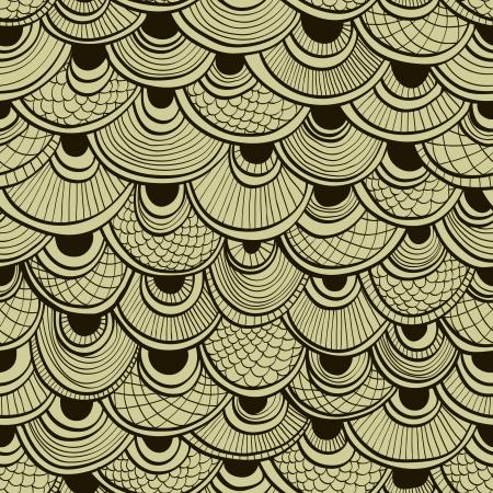 Blanco y negro resumen de fondo sin fisuras mano dibujada con escamas de peces ornamentales