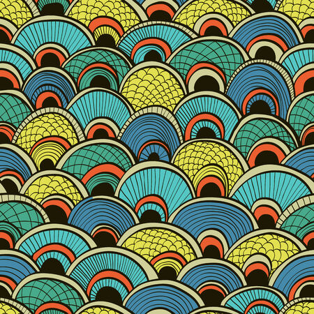escamas de peces: Fondo transparente azul abstracto dibujado a mano con escamas de pez adornadas