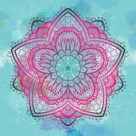 Grunge pink and blue ornamental flower