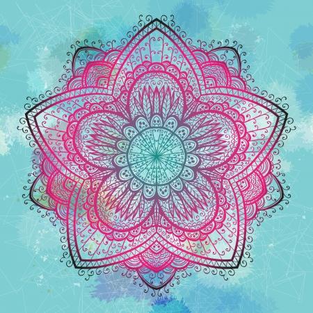 Grunge pink and blue ornamental flower