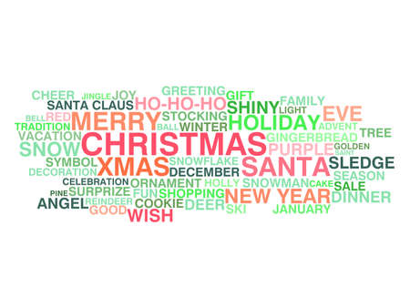 Merry Christmas and Happy New Year  Word cloud concept Vector
