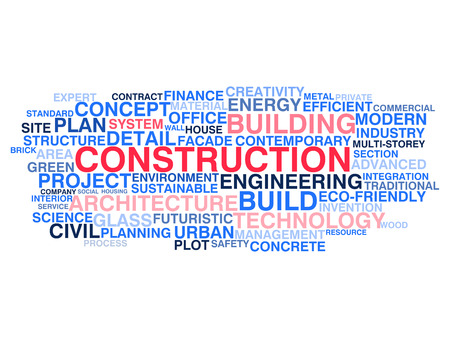 Building construction and civil engineering  Word cloud concept Vector