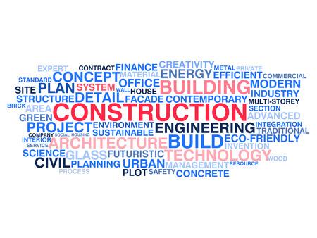 construction management: Costruzioni edili e di ingegneria civile Word concetto di cloud