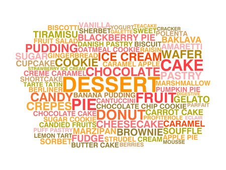 Variety of desserts  Word cloud concept