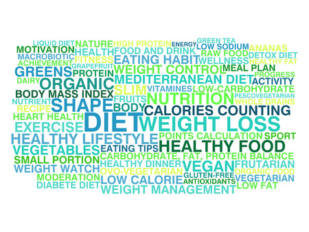 Diet and weight loss  Word cloud concept Vector