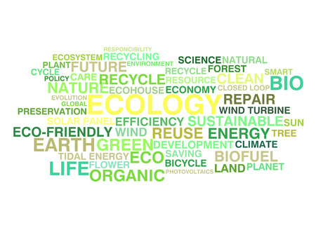 photovoltaics: Ecology and sustainable development word cloud Illustration
