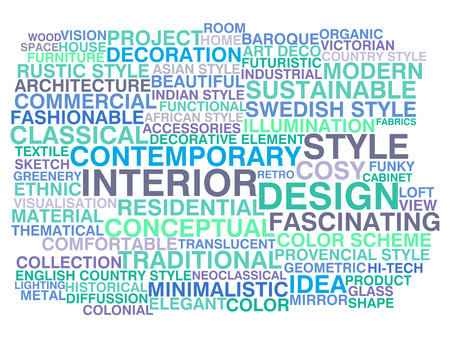 Interior design  Word cloud concept Vector