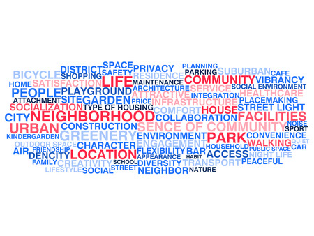 Urban neigborhood life  Word cloud concept Vector