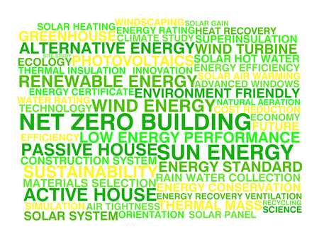 Net zero building  Word cloud concept Vector