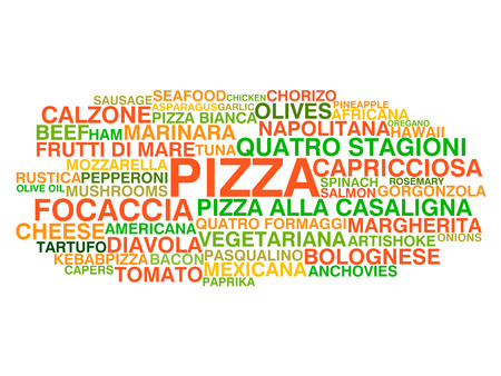 typology: Traditional Italian pizza types  Word cloud concept