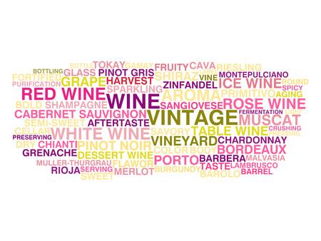 Types of wine  Word cloud concept Иллюстрация