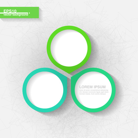 Infographic template with three blue and green labels