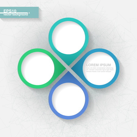 Infographic template with four blue and green labels   Illustration