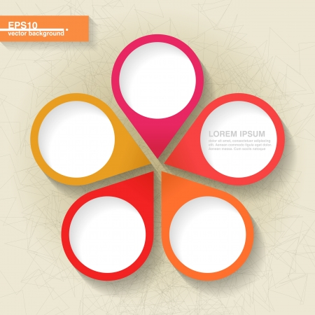 Infographic template with five orange and red labels
