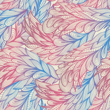 Seamless vintage pastel pattern with angel pink and blue feathers Vector