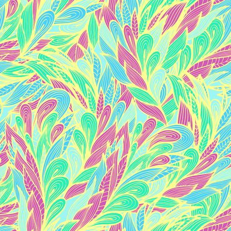 Seamless floral vintage soft pastel doodle pattern with abstract feathers