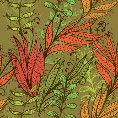 Seamless hand drawn vintage background with autumn leaves Stock Vector - 24114301
