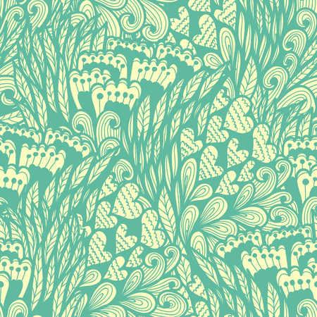 Seamless hand drawn vintage blue doodle pattern with flowers and hearts Vector
