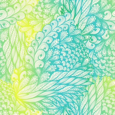 Seamless floral vintage yellow and blue gradient doodle pattern with spirals Vector