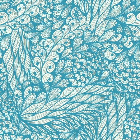 Seamless floral vintage blue doodle pattern with spirals Vector