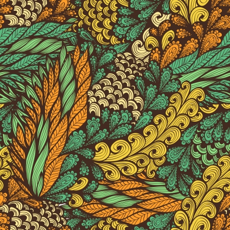 Seamless vintage pattern with doodle flowers and spirals Illustration