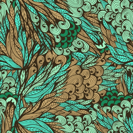 Seamless vintage pattern with doodle flowers Vector