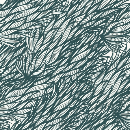 Seamless vintage hand drawn pattern with monochrome feathers Vector