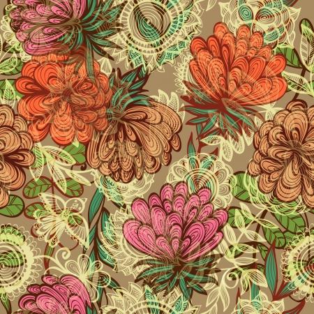 Seamless hand drawn vintage floral pattern