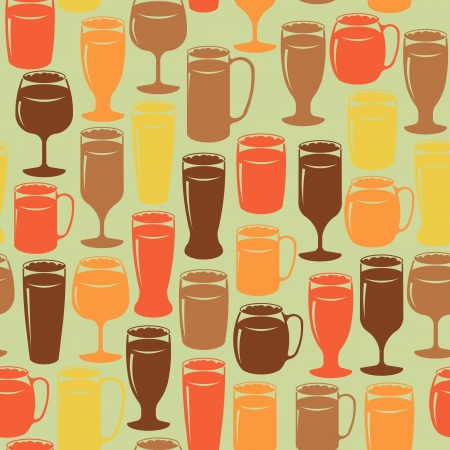 drinkware: Seamless vintage background with beer glasses