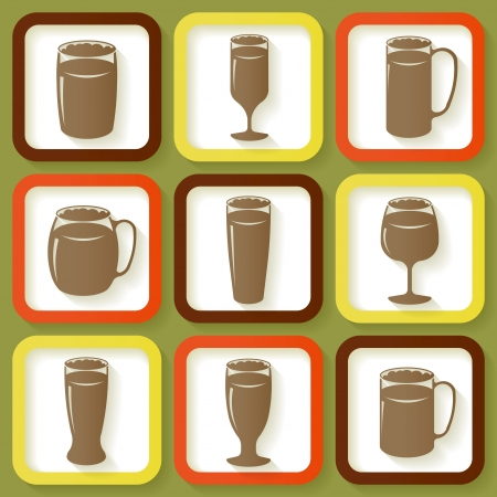 drinkware: Set of 9 retro icons of different beer glasses    Illustration