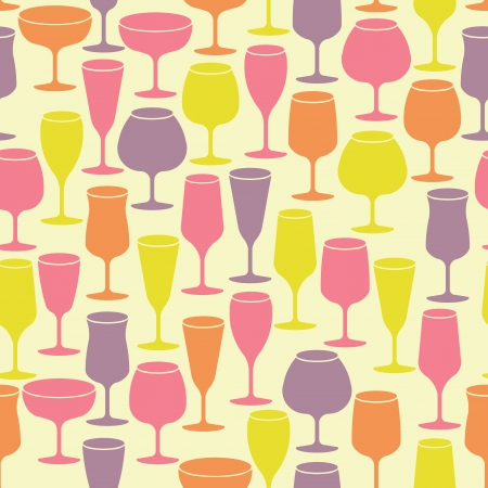 Seamless vintage background with wine glasses Vector