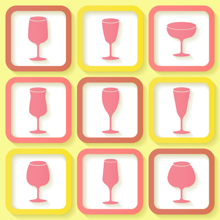Set of 9 retro icons with different wine glasses