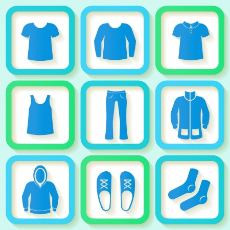 blazer: Set of 9 bright icons of men clothing