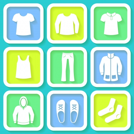 habiliment: Set of 9 bright icons of men clothing