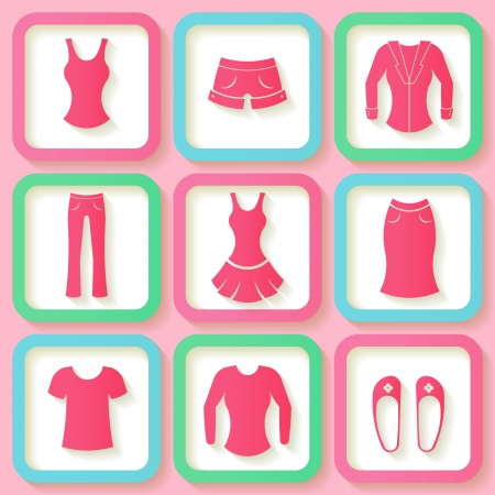 Set of 9 pink icons of female clothing   Vector