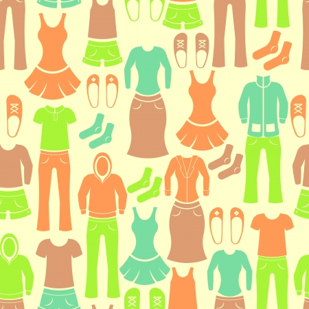 Seamless retro pattern with male and female clothing Vector