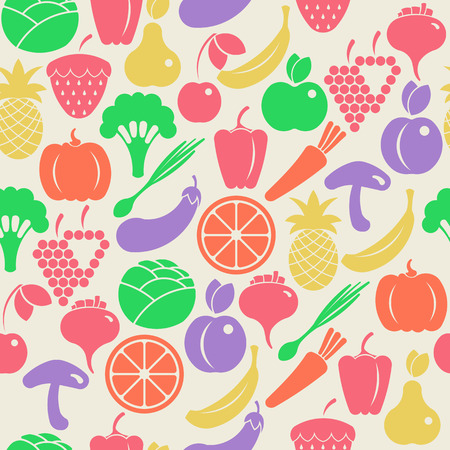 Seamless retro background with fruits and vegetables Vector