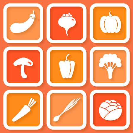 Set of 9 retro icons with vegetables    Vector