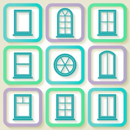 finestra: Set di 9 icone retrò di diversi tipi di finestre Vettoriali