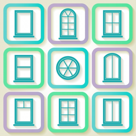Set of 9 retro icons of different types of windows