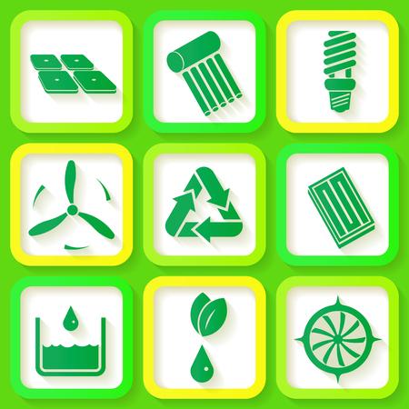 bombillo ahorrador: Conjunto de 9 iconos retro de las energ�as renovables