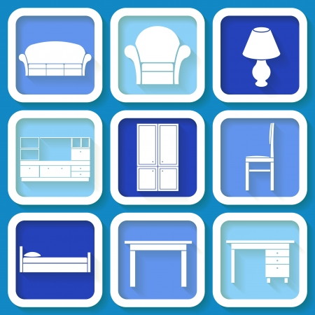 Set of 9 retro blue icons of house furniture Vector