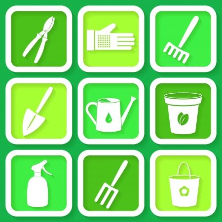 Set of 9 icon of garden instruments Stock Vector - 24542962