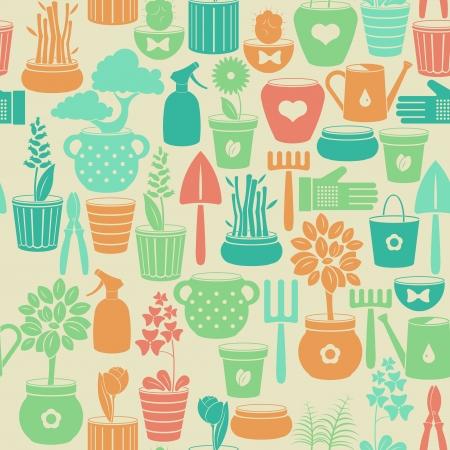 earthenware: La cosecha de fondo transparente con flores en macetas y los instrumentos para la jardiner�a