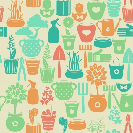 Seamless vintage background with flowers in pots and instruments for gardening