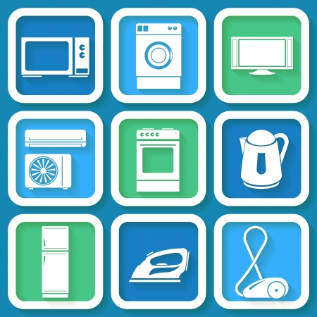Set of 9 retro icons of domestic electric appliances  Eps10 Vector